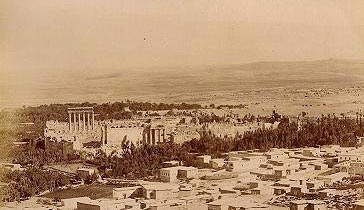 A panorama of ancient Baalbek, seen from a nearby hill.
